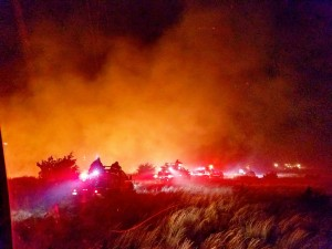 2017-03-07.NW OK Complex Fire.fire and truck line at night.Carmen Fire Dept 2